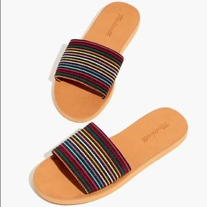 Madewell The Maddie Slide Sandal in Rainbow Stripe